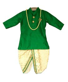 Swini's Baby Wardrobe Kurta & Dhoti - Green & Cream