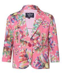 Tales & Stories Full Sleeves Floral Print Blazer - Pink