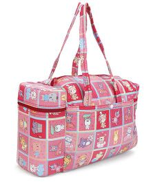 Mee Mee Printed Nursery Bag With Insulated Bottle Holder - Red And Pink