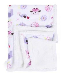 Abracadabra Printed Reversible Luxury Blanket Elephant Print - Cream Purple