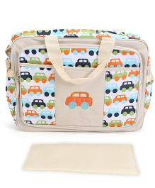 Abracadabra Diaper Bag With Changing Mat Car Print - Brown & Orange