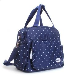 Abracadabra Diaper Bag With Changing Mat Dotted Print - Navy & White