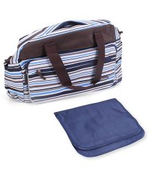 Abracadabra Diaper Bag With Changing Mat Stripes Print - Brown & Blue