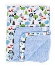 Abracadabra Printed Reversible Luxury Blanket Trees Print - White Blue