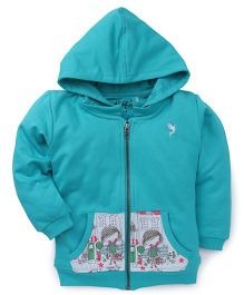 Highflier Girl Sweat Shirt With Hood - Green