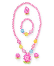 Adores Beads & Sun Flowers & Leaves Kids Jewellery - Pink