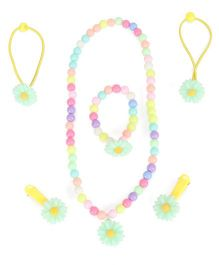 Adores Set Of 4 Beads & Flower Kids Jewellery - Green