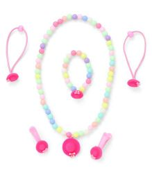 Adores Set Of 4 Beads & Hat Style Kids Jewellery - Pink