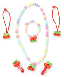 Adores Set Of 4 Cherry Beads Kids Jewellery - Red