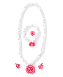 Adores Pearl Jewellery Set With Rose - Red