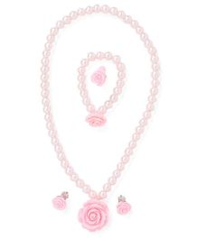 Adores Pearl Jewellery Set With Rose - Baby Pink