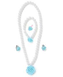 Adores Pearl Jewellery Set With Rose - Blue
