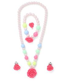 Adores Pearl Jewellery Set With Rose - Hot Pink