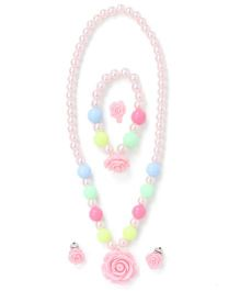 Adores Pearl Jewellery Set With Rose - Light Pink