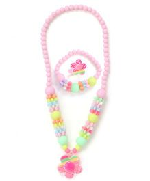 Adores Set Of 3 Multicolour Flower Jewellery Set - Pink
