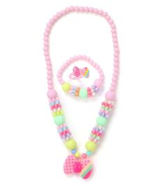 Adores Set Of 3 Multicolour Beads & Bow Jewellery Set - Pink