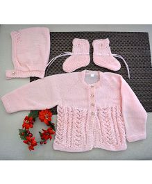 Buttercup From KnittingNani Dress With Cap & Booties - Pink
