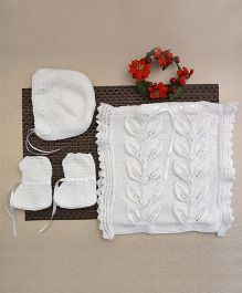 Buttercup From KnittingNani Tabard With Bonnet & Booties - White