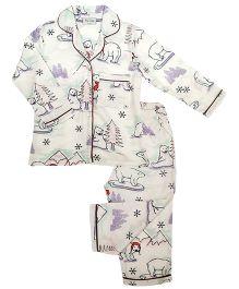 De-Nap Polar Bear Winters Magic Pajama Set - Cream