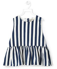 Cubmarks Striped Peplum Top - Blue & White