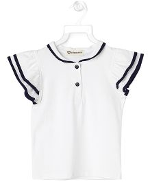 Cubmarks Top With Contrast Piping - White