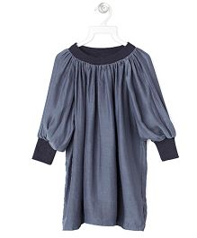 Cubmarks Party Dress With Ribbed Cuffs & Neckline - Grey