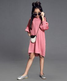 Cubmarks Party Dress With Ribbed Cuffs & Neckline - Pink