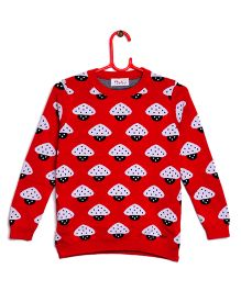 RVK Mushroom Design Full Sleeves Pull Over - Red