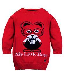 RVK Bear Design Full Sleeves Pull Over - Red