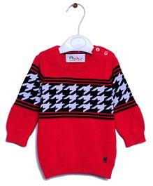 RVK Zigzag Design Full Sleeves Pull Over - Red