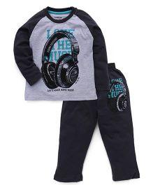 Doreme Raglan Sleeves T-Shirt And Bottoms Headphone Print - Grey