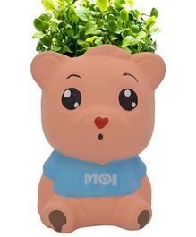 Buddyboo Teddy Grass On Head Plant Pot - Blue