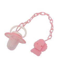 Buddyboo Baby Teether Pacifier With Clip Holder Penguin Shape - Pink