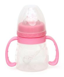 Buddyboo Feeding Bottle With Twin Handle - White Pink