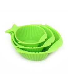 Buddyboo Baby Feeding Bowl Fish Design Green - Set Of 3