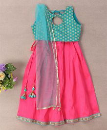 Bubblegum Lovely Choli With Lehenga & Dupatta - Blue & Pink