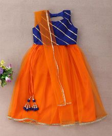 Bubblegum Exquisite Choli With Lehenga - Navy & Orange