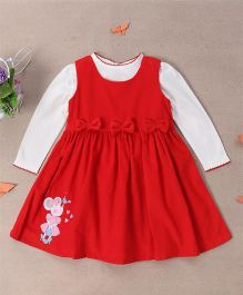 Bubblegum Pretty Bow Corduroy Dress With Full Sleeve T-Shirt - Red & White