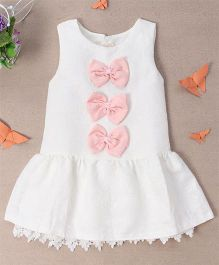 Bubblegum Cute Lace Dress With Bow - White