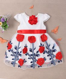 Bubblegum Lovely Party Dress With Ribbon & Flowers - White & Red