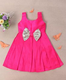 Bubblegum Royal Party Dress With Fancy Bow - Hot Pink
