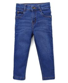 Babyhug Jeans With Whiskers - Medium Blue