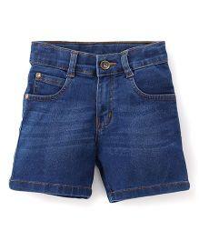 Babyhug Whisker Style Denim Shorts - Medium Blue