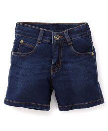 Babyhug Whisker Style Denim Shorts - Dark Blue