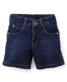 Babyhug Whisker Style Denim Shorts - Dark Blue