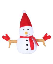 Ultra Christmas Snowman Soft Plush Stuffed Toy White Red - 33 cm