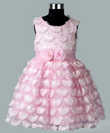 Whitehenz Clothing Elegant Feathers Floral Waist Dress - Baby Pink