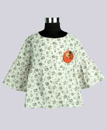 WhiteHenz ClothingChristmas Delight With Bell Sleeves Tunic - White & Orange