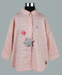 WhiteHenz Clothing Cute Heart Print Shirt With Back Bow Collar - Pink
