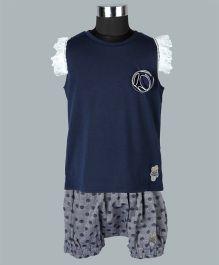 WhiteHenz ClothingTop With Polka Dot Shorts - Blue & Grey